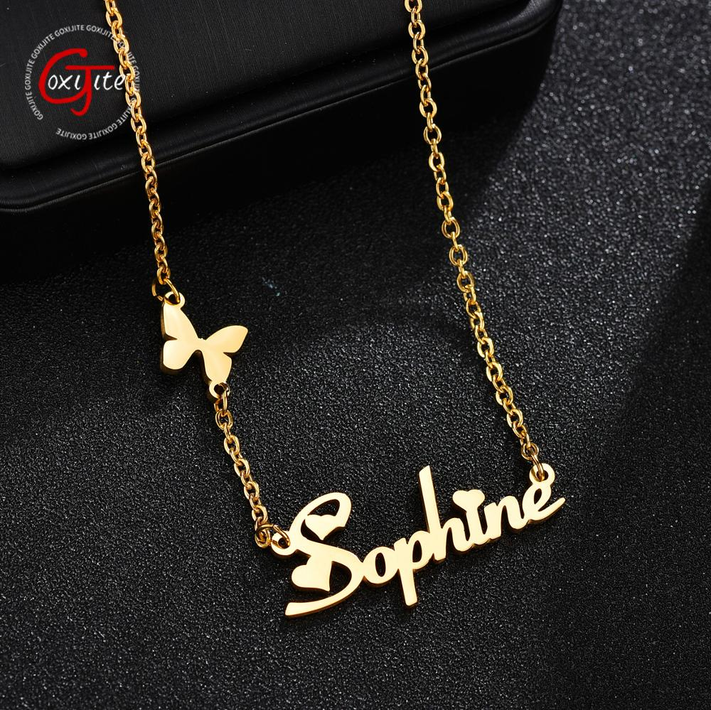 Goxijite Fashion Custom Stainless Steel Name Necklace With Butterfly For Women Personalized Letter Gold Choker Necklace Gift 1