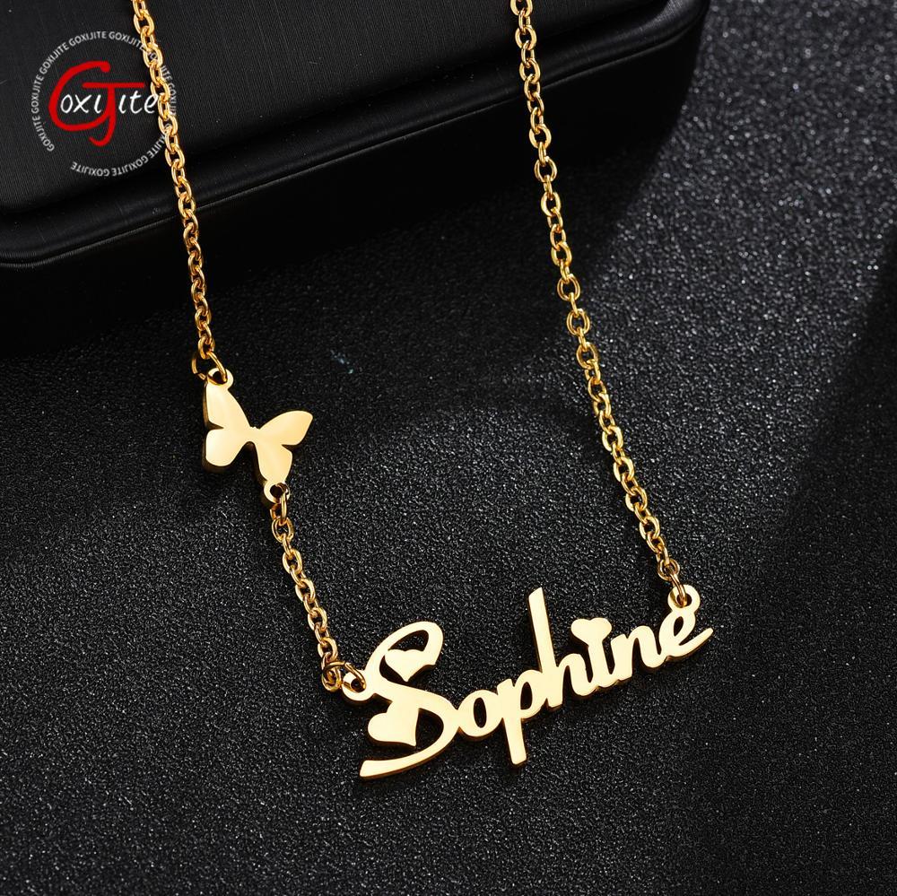 Goxijite Mode Benutzerdefinierte Edelstahl Name Halskette Mit Schmetterling Für Frauen Personalisierte Brief Gold Halsband Halskette Geschenk