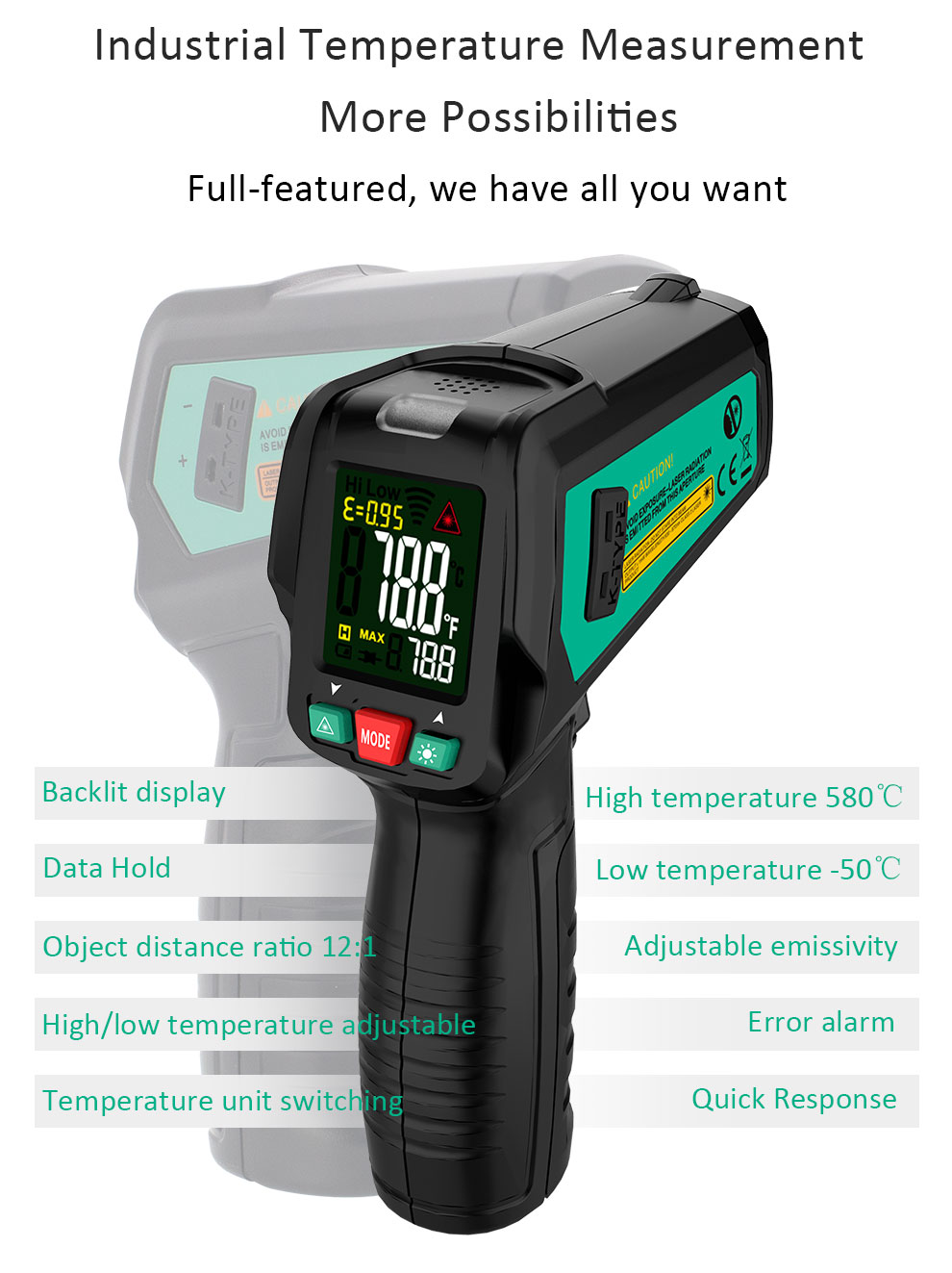 High Precision Non Contact Thermometer with K Probe and LCD Display to Check Body Temperature 12