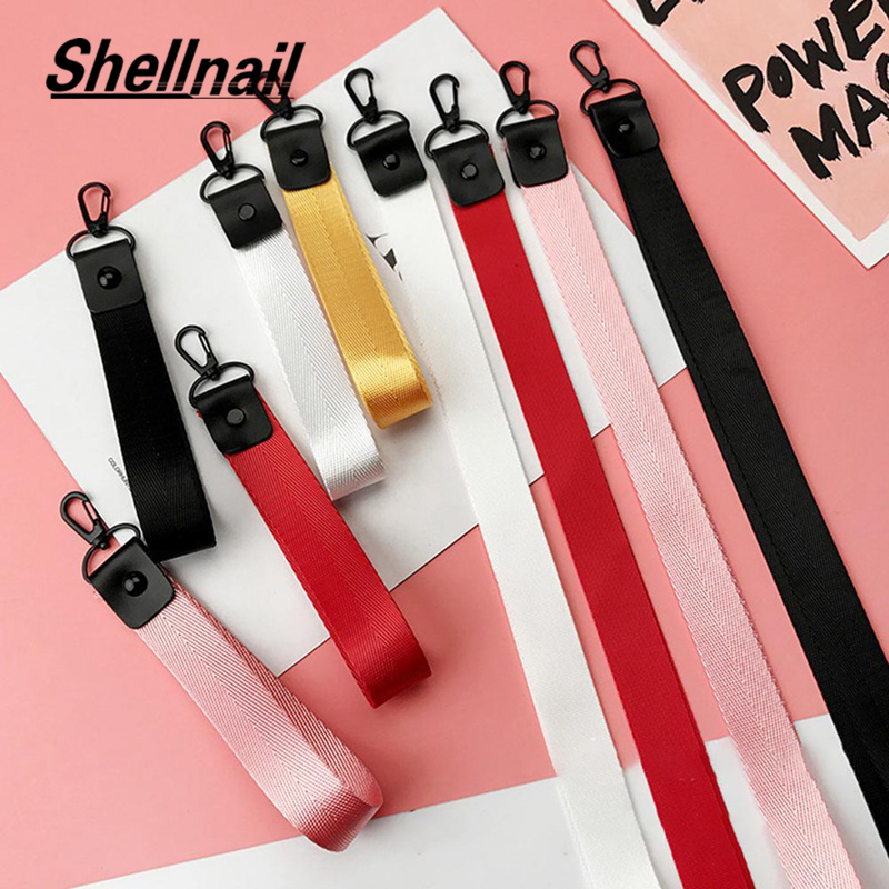 SHELLNAIL Solid Mobile Phone Straps For Huawei USB Badge Holder DIY Hang Rope Keychain Lanyard Neck Strap For Phone Keys ID Card