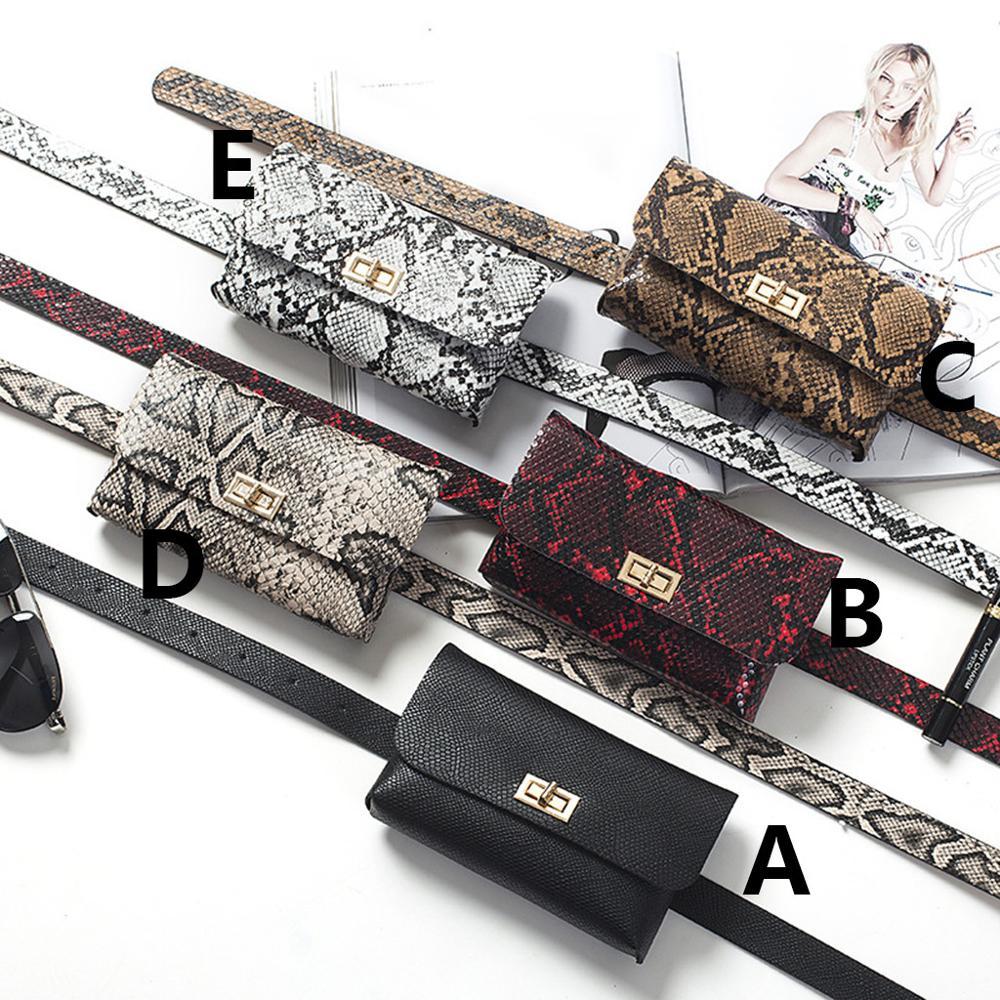 2019Fashion Trend Snake Serpentine Women Button Waist Bag Pack Fanny Leather Snake Skin Waist Belt 5Colors Талия пакет Droppship