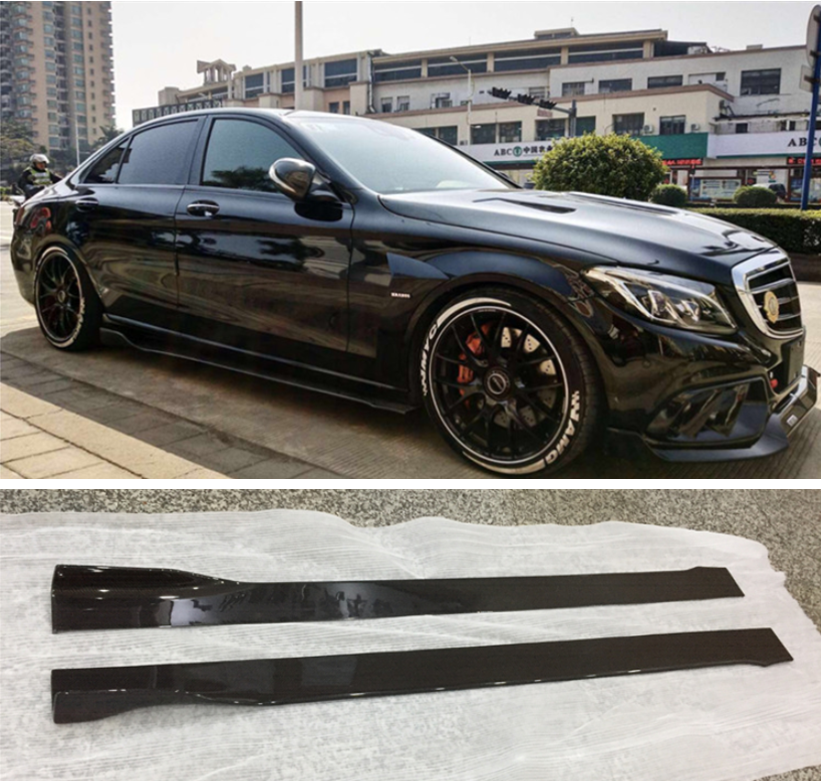 High Quality Carbon Fiber Side Body Skirts Kit Lip Splitters Cover For <font><b>Mercedes</b></font>-Benz W221 <font><b>W222</b></font> <font><b>S</b></font> <font><b>Class</b></font> S63 S65 2005-2021 image