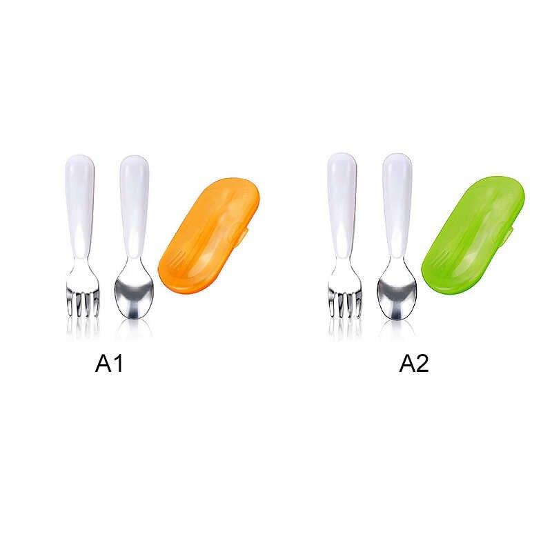 ทนความร้อนเด็กเครื่องครัวชุดช้อนส้อม Travel Case เด็กวัยหัดเดินทารกเด็กให้อาหารการฝึกอบรมช้อน Easy Grip j74