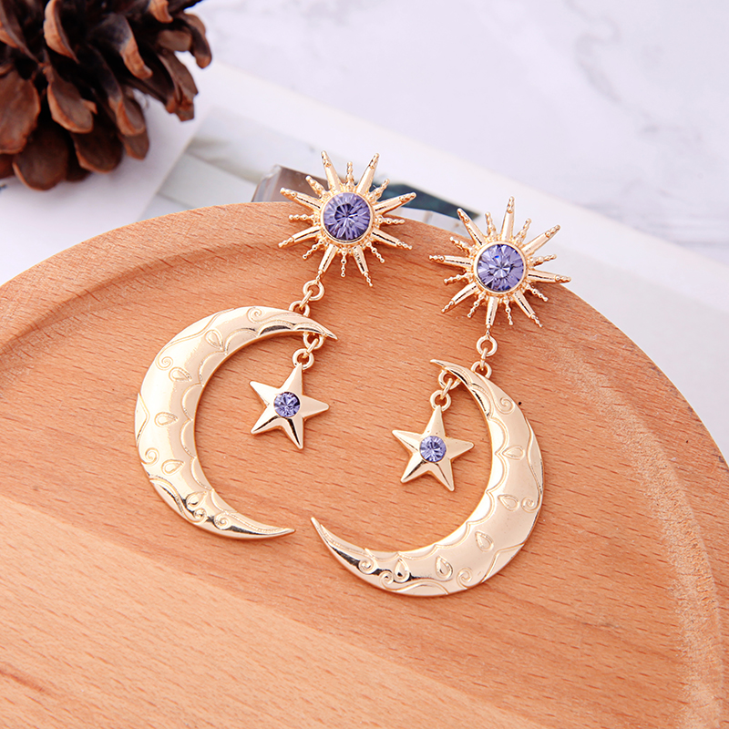 Bohemia Handmade Crystal Moon Star Drop Earring For Women Wholesale Jewelry Free Shipping