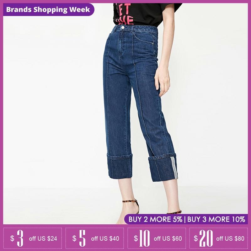 Vero Moda 100% Cotton High-rise Rolled Wide-leg Capri Jeans   31926I538