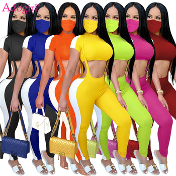 Adogirl Women Ribbed 3 Piece Set Color Patchwork Short Sleeve Crop Top Strappy Leggings Pants Overalls Fashionable Suit Outfits golden shiny strappy two piece outfits