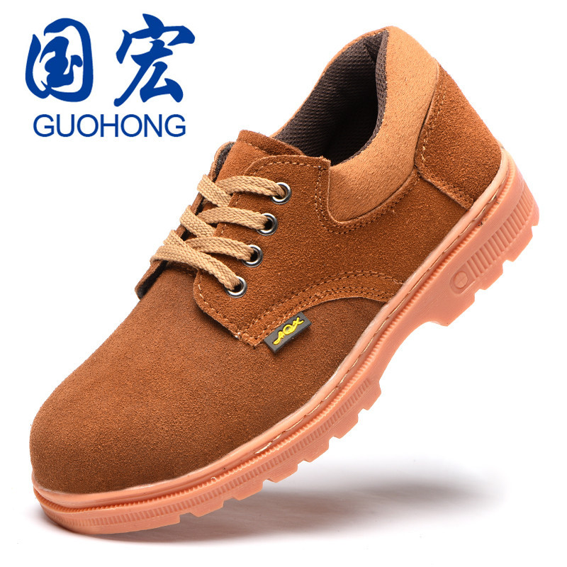 Cowhide Safety Shoes Cross Border Wholesale Stab-Resistant Safety Shoes Anti-static Wear-Resistant Anti-slip Rubber Sole Shoes