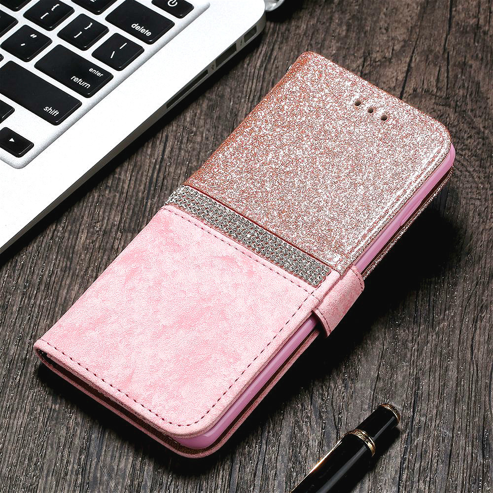 Luxury Diamond Glitter Flip Wallet Case for IPhone SE 2020 11 Pro Xs Max Xr X 7 Plus 8 6S 6 5 5S SE 2020 Elegant Leather Cover image