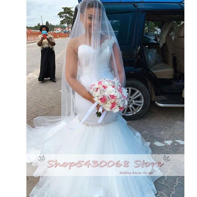 Elegant Mermaid Wedding Dress 2020 Bridal Gown African Bride Dresses Sexy O Neck Illusion Back Beading Crystal Plus Size 2