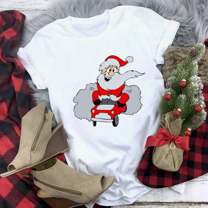 Футболка женская с принтом Санта Клауса белая рубашка рождественским