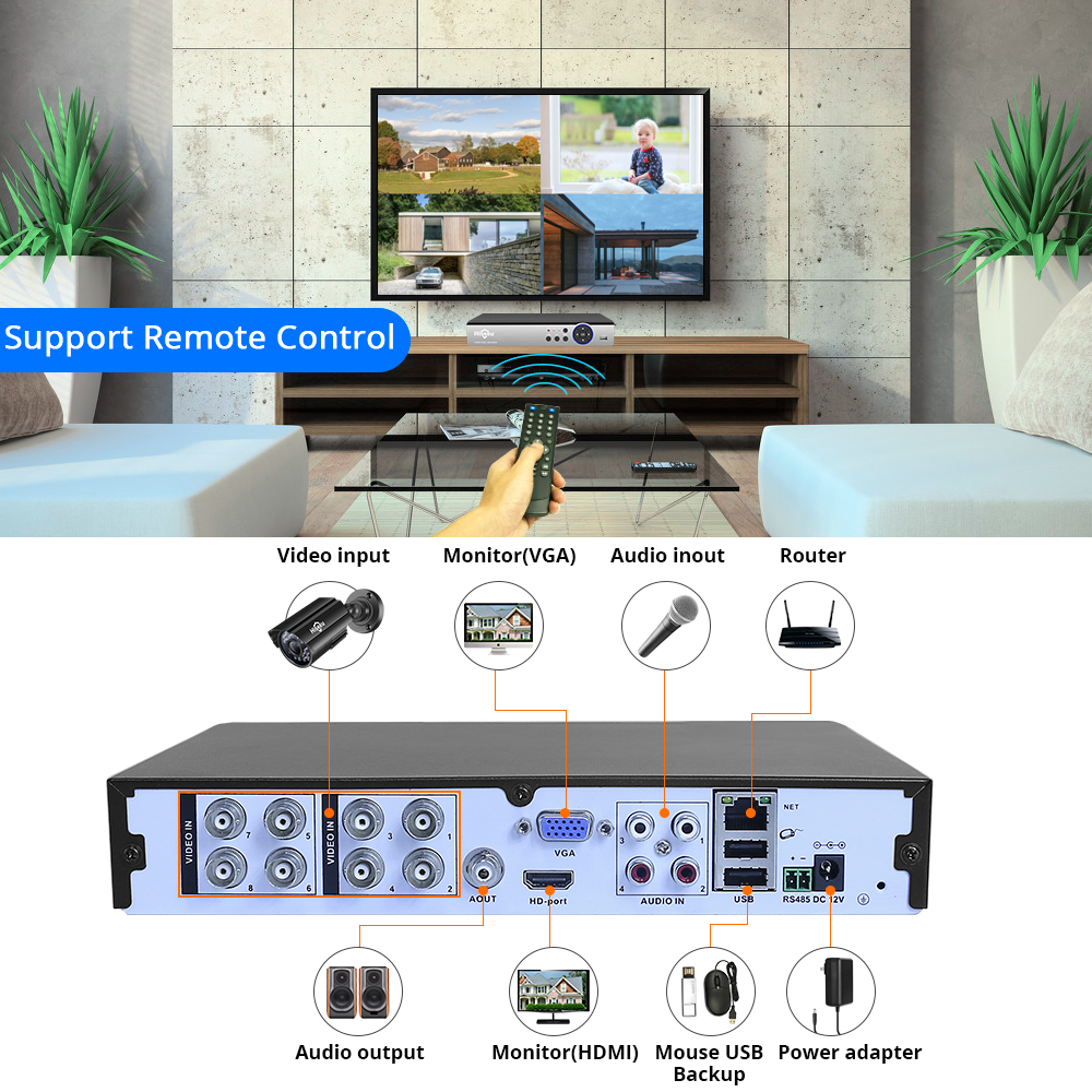 Image 4 - Hiseeu CCTV Camera Security System Kit 8CH 5MP AHD DVR 4PCS Outdoor Weatherproof Video Surveillance 3.6mm Lens-in Surveillance System from Security & Protection