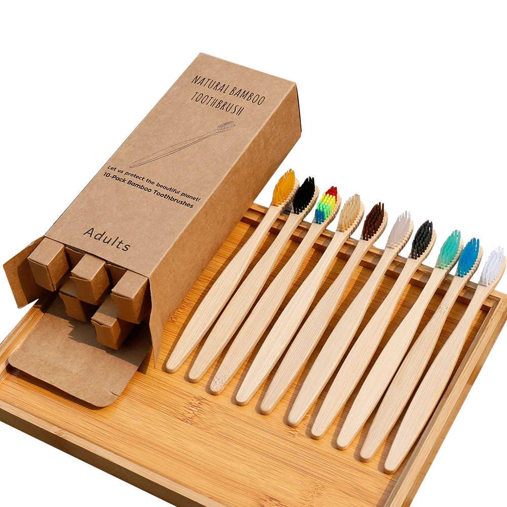 10 Uds cepillo de dientes ecológico de bambú Arco Iris suave fibra cepillo de dientes Biodegradable cepillo de dientes mango de bambú sólido cepillo de dientes