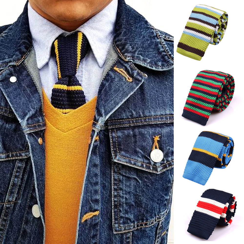 Mens Knit Ties Casual Striped Knitted Neck Ties For Men Wedding Suits Polyester Slim Neckties Gravatas Business Skinny Men Ties
