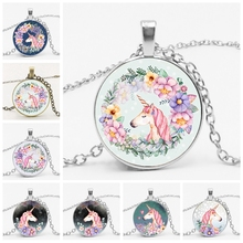 Cute Unicorn Vintage Necklace Antique Bronze Chain Glass Cabochon Pendant Necklace for Women Retro Handmade Jewelry Party Gift 2019 cute owl pendant and necklace tricolor long chain necklace retro glass cabochon gift ornament necklace