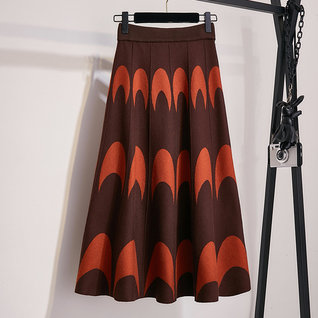 Winter Autumn 2019 Skirts Womens Knitting Wool Pleated Long Skirt Moon Print High Waist Elastic Large Hem Midi Skirts 5