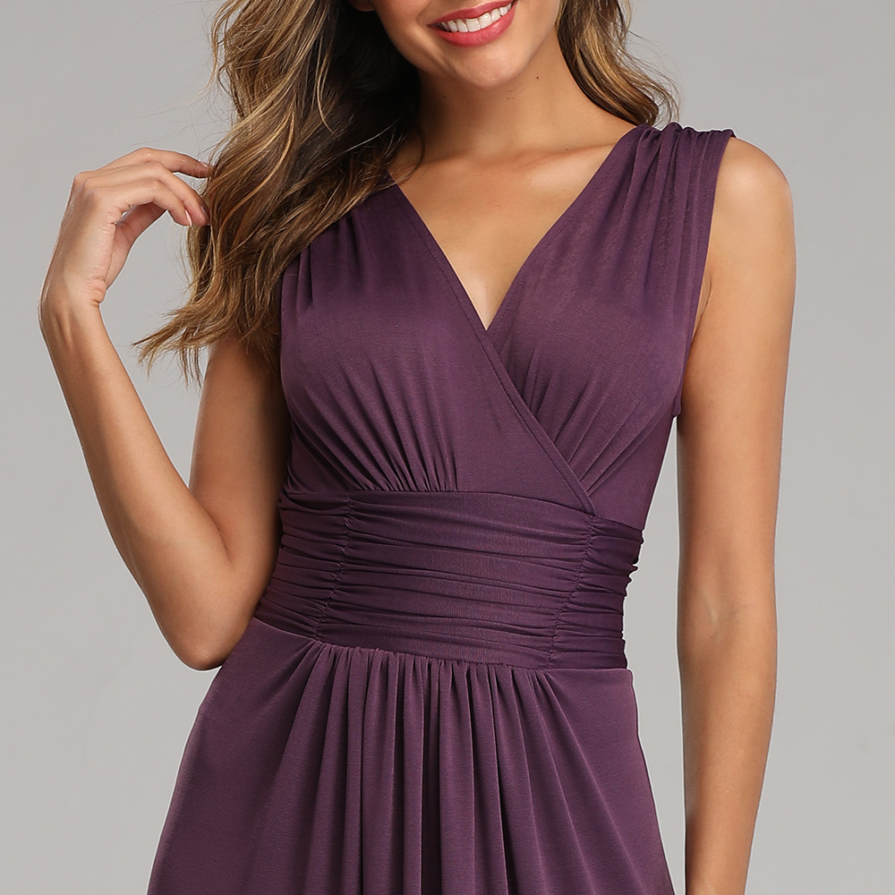 Купить с кэшбэком Soft Stretching comfort Diamonds Cotton-Fabric V-neck Sleeveless Open Back Pleated  Cocktail Dress Pure Color Formal Party Gowns