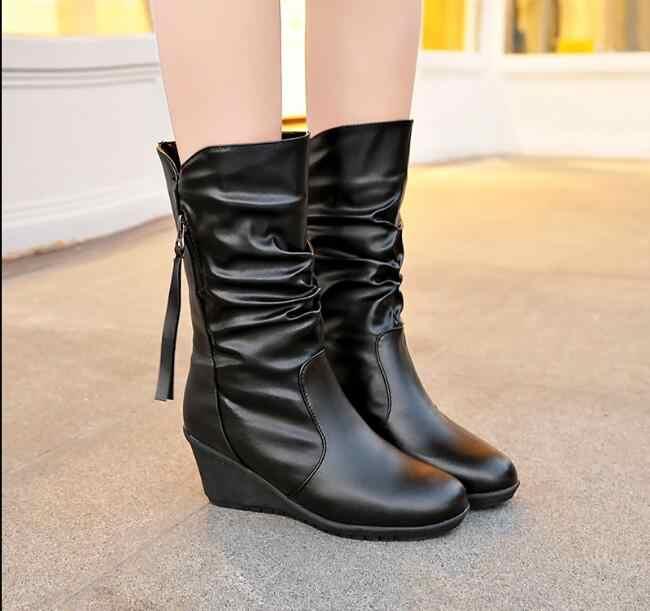 Nouveau mode femme bottes automne hiver chaussures compensées bottes à talons bas bottes mi-mollet femmes noir chaussons augmentant chaussures