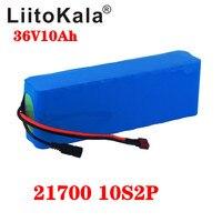 Liitokala 36 v bateria 10ah 21700 5000mah 10s2p bateria 500 w bateria de alta potência ebike bicicleta elétrica bms