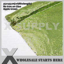 Apple Green Aluminum Metal Fabric Mesh Without Iron on Glue For Table Coverings(China)