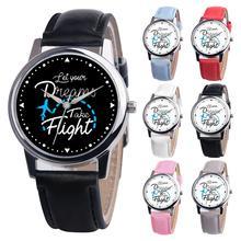 Casual Encouraged Letters Unisex Quartz Wrist Watch Male Female Round Case Faux