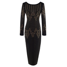 HIGH QUALITY Fashion Runway 2020 BAROCCO Designer Dress Women's Long Sleeve Luxurious Diamonds Beading Back V Zipper Dress(China)