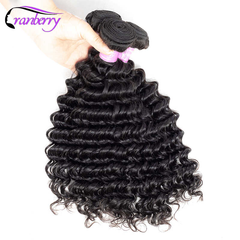 Cranberry Hair Deep Wave Bundles 3 Pcs/Lot Brazilian Hair Weave Bundles 100% Remy Hair Natural Black Human Hair Bundles