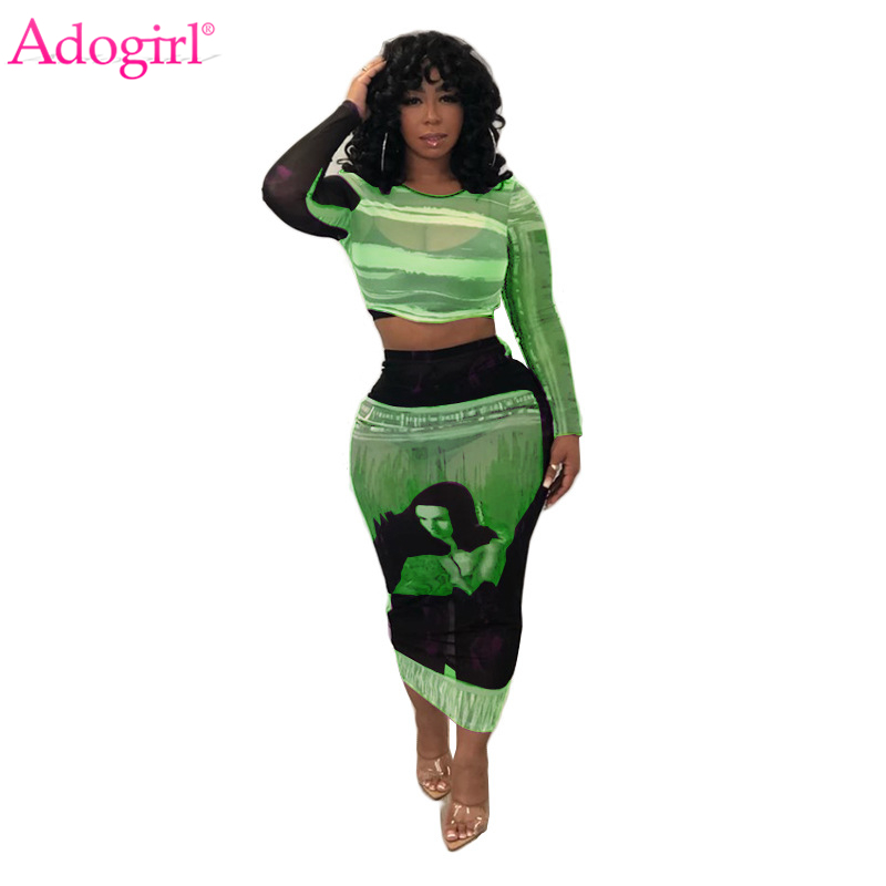 Adogirl Tie Dye Print Color Block Sheer Mesh Two Piece Set Club Dress Long Sleeve Crop Top Bodycon Midi Skirts Fashion Suits