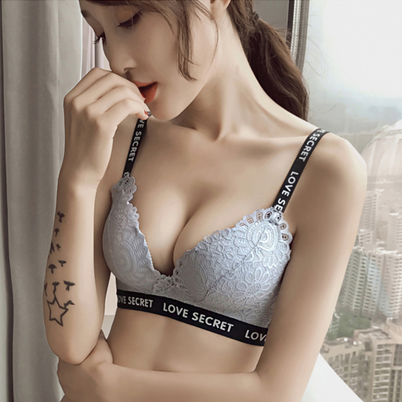 Sexy Lace Bras For Women Push Up Bra Lingerie Bralette Thicken 3/4 Cup Wire Free Brassiere Fashion Soft Underwear Letter Straps