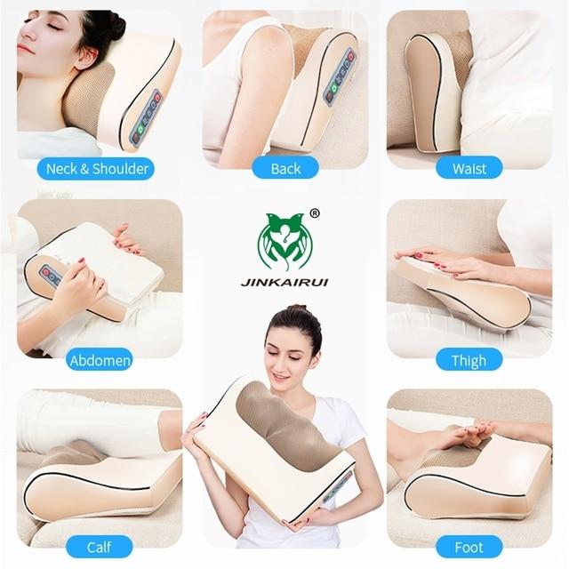 Infrared Heating Neck Shoulder Back Body Electric Massage Pillow Shiatsu Massager Device Cervical Healthy Massageador Relaxation 1