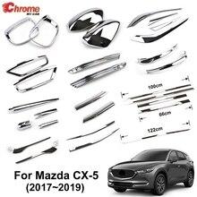 CX 5 delantera y trasera cromada para Mazda, espejo lateral, tira cobertora embellecedora, decoración de coche, para LUZ ANTINIEBLA TRASERA, CX5, KF, 2017, 2018
