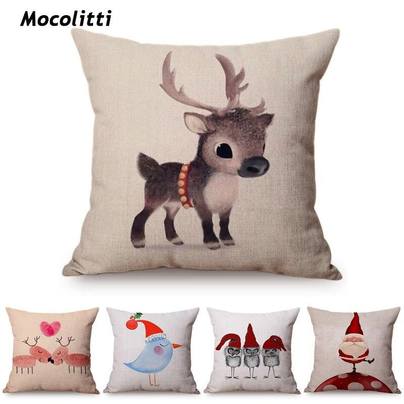 US $4.23 15% OFF|Happy New Year Cartoon Animal Cushion Cover Santa Claus  Elk Christmas Decor Throw Pillows Car Sofa Home Decorative Pillow Case on  ...