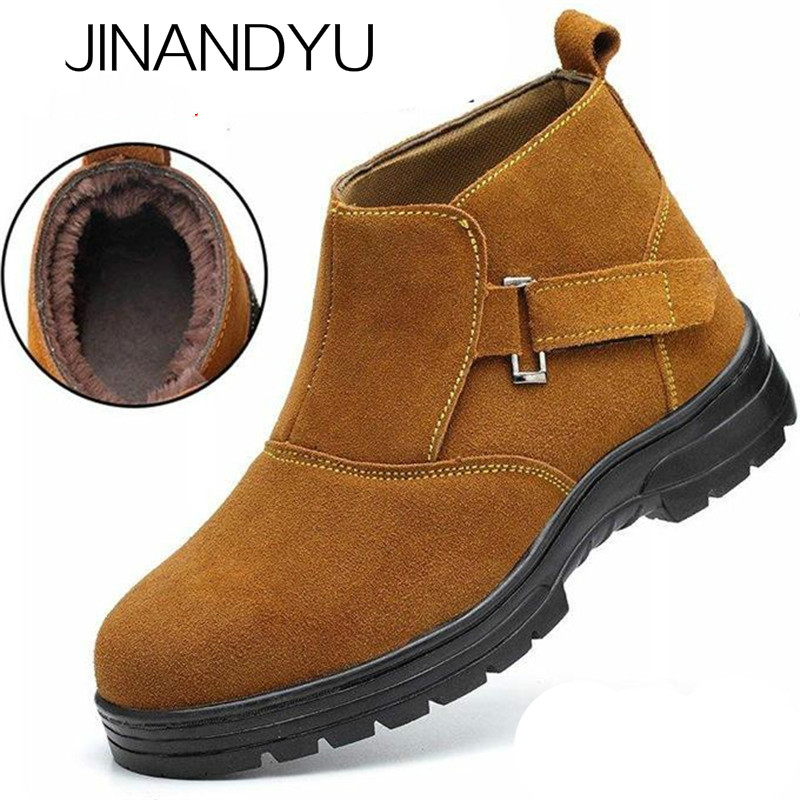 Size 37-46 Autumn Steel Toe Boots Work Shoes Men/women Safety Shoes Mens Winter Footwear Thickening Thermal Waterproof Boots Men image
