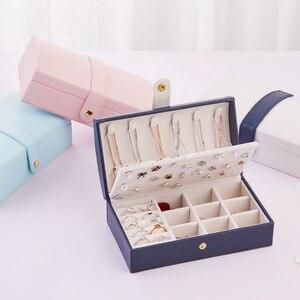 Image 3 - Nouvelle boîte à bijoux fraîche et Simple en polyuréthane Portable arqué 2 couches petite boucle doreille anneau multifonctionnel en cuir boîte demballage de bijoux