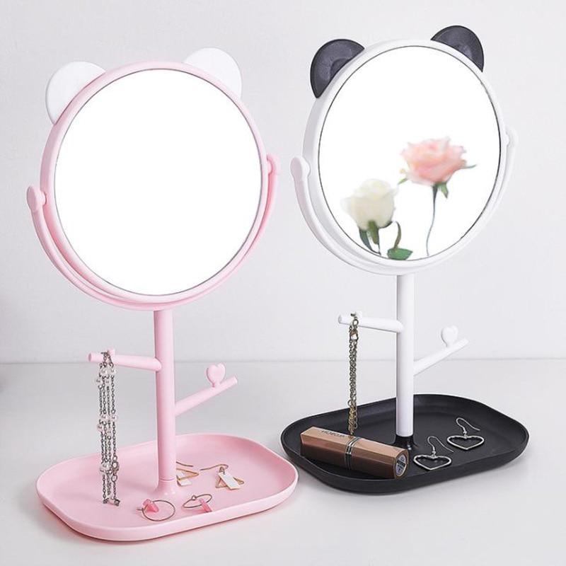 Cartoon Cute Makeup Mirror Desktop Desktop Large Round Mirror Multifunctional Lady Makeup Storage Mirror