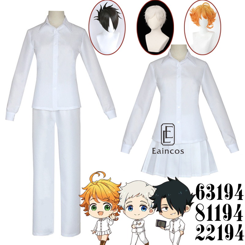 Anime The Promised Neverland Emma Norman Ray Cosplay Halloween Party Costumes Student Uniforms Wigs With Tattoo
