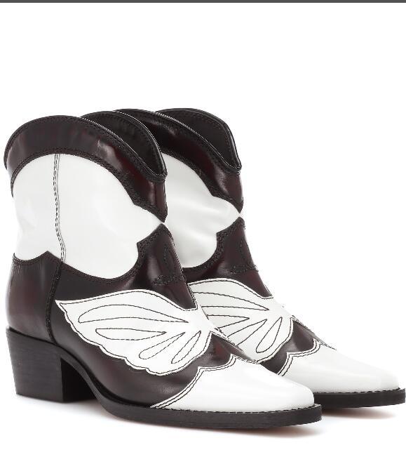 Las nuevas botas de vaquero Vintage para mujer de cuero de gamuza bordadas botas de tobillo marrón tacones bajos deslizantes en barcos occidentales Sapato femenino - 5