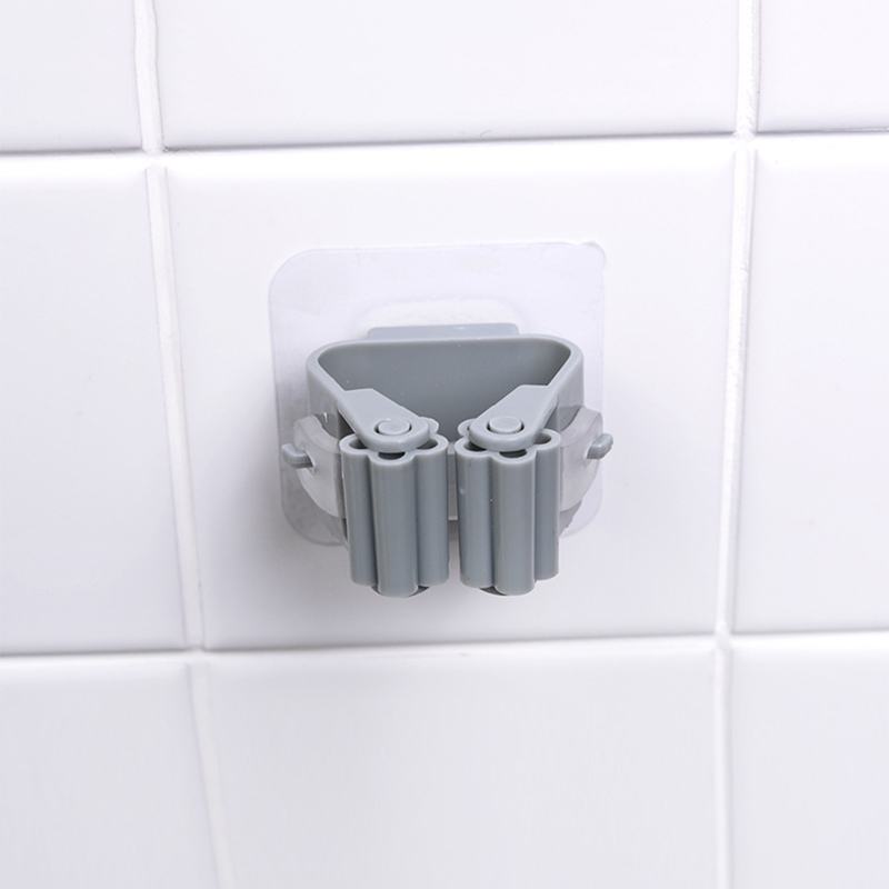 Wall Mounted Mop Broom Holder With Storage Rack Kitchen And Bath Holder Storage Tool 5