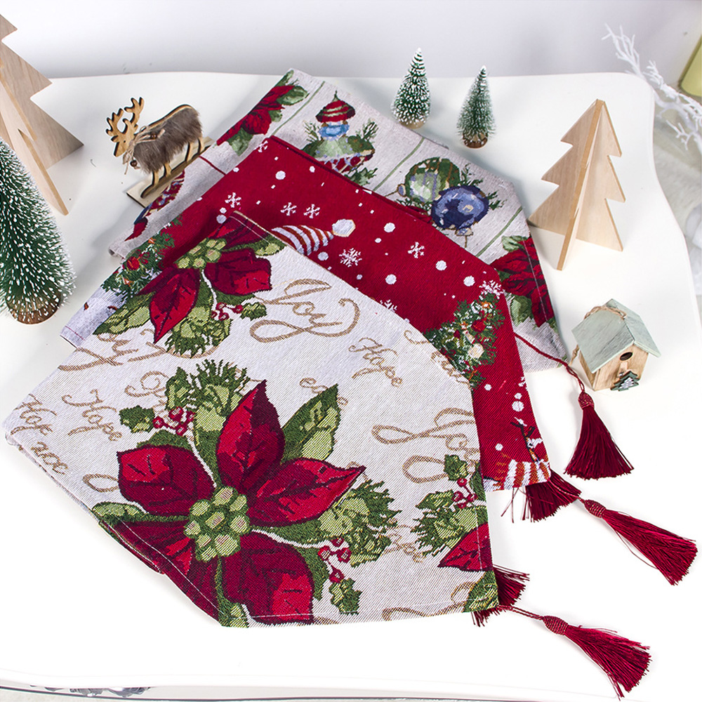 1pc Christmas Design Printed Table Runner Home Kitchen Table Cover Decoration Dining Area Table Runner