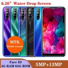 Czterordzeniowy ekran A71 13MP kropla wody 6.26 cala 4GB RAM 64GB ROM face ID odblokowany smartfon wifi Android telefony komórkowe celulares