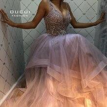 Oucui V ausschnitt Tiered Tüll Prom Kleid 2020 Lange Sleeveless Stecker Größe Perlen kleid Kristalle Formale Abend Robe De Soiree OL103622