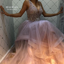 Oucui V neck Tiered Tulle Prom Dress 2020 Long Sleeveless Plug Size Beading gown Crystals Formal Evening Robe De Soiree OL103622