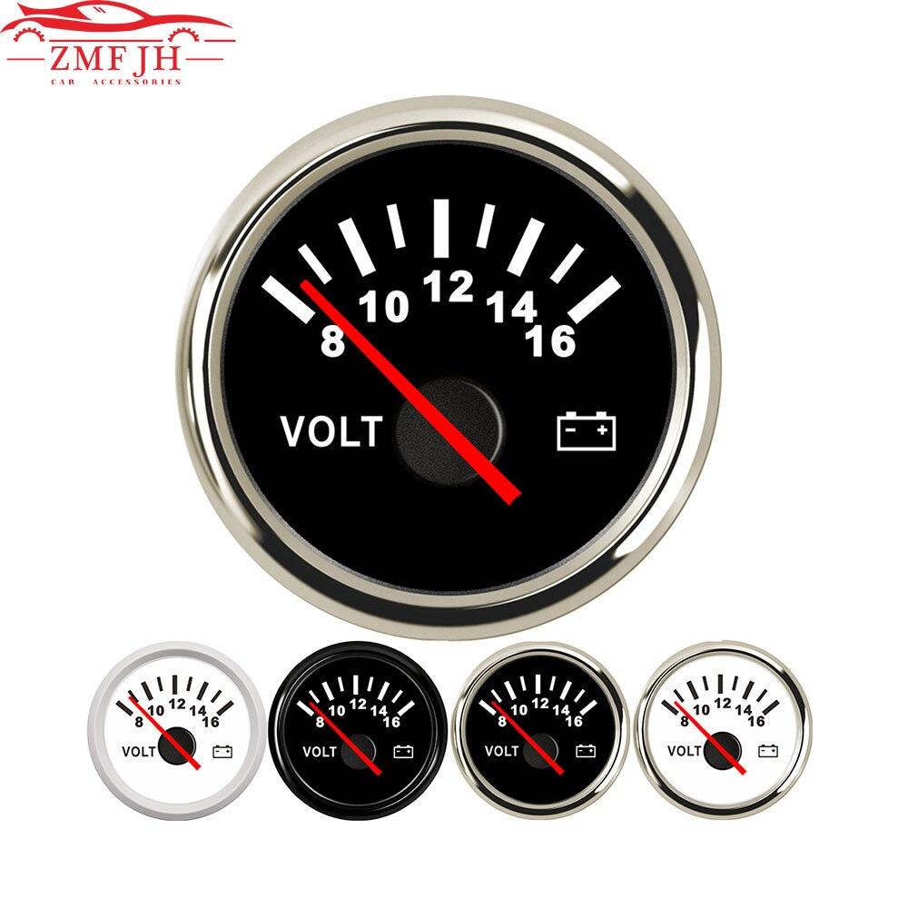 Универсальный 52 мм вольтметр морской Авто вольтметр 8-16 в водонепроницаемый датчик для мотоцикла автомобиля лодки автомобиля с красной под...