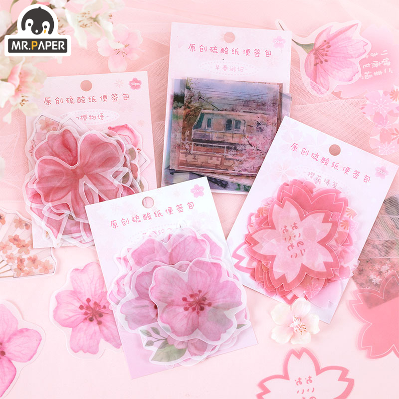 Mr.Paper 4 Designs Japanese Sakura Girlish Loose Leaf Kawaii Litmus Memo Pads Original Creative Celebrating Christmas Memo Pads