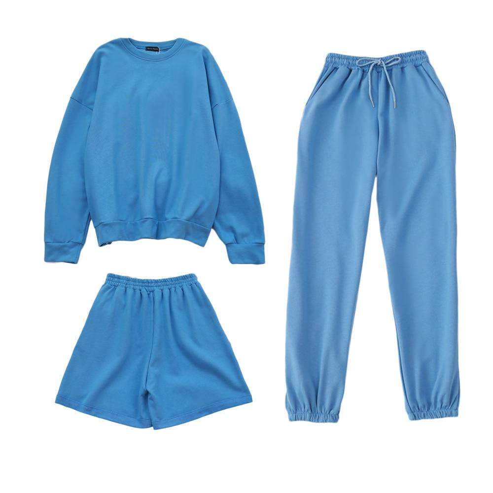 Verkauft Separat Damen Trainingsanzüge 3 Stück Übergroßen Sweatshirt Sweatpant Sporting Shorts Schweiß 3 Stück Outfit Einfarbig Sets