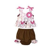 Одежда для маленьких девочек от 1 до 6 лет платье-майка с пончиком топы, футболка, шорты, летняя одежда