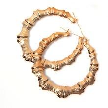 Новые большие золотые Бамбуковые серьги кольца в стиле панк