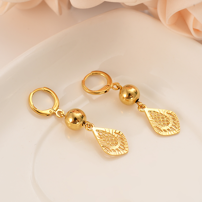 Gold Color Ball drop Earrings for Women Girls kids Jewelry Bead Round Ethiopian Africa Arabia Middle East Bijoux charms Gift(China)