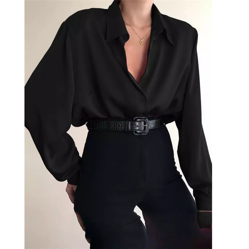 New Fashion Autumn Women Blouse Shirt Lapel Long Sleeve Solid Black Red Ladies Blouse For Women Female Top Clothing