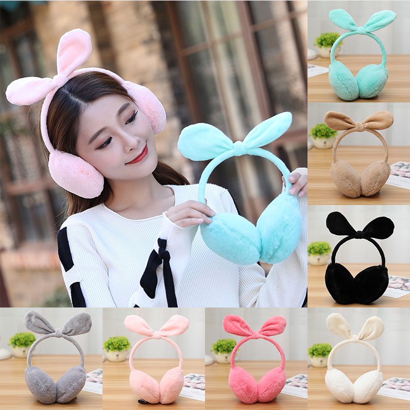 Rabbit Ears Earmuffs Winter Comfort Soft Bow Faux Fur Plush Ear Warmer Women Foldable Earmuffs