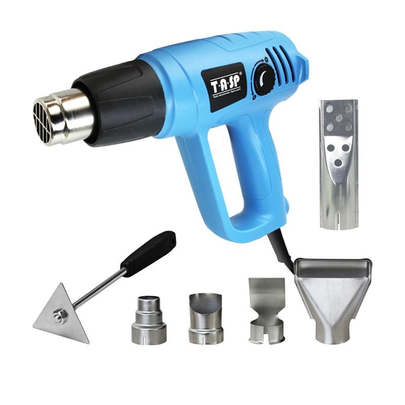 TASP 230V 2000W Electric Hot Air Heat Gun 3 Temperature 60~600C - BBQ Lighter - 5 Nozzles & Scraper Home Renovation Power Tools